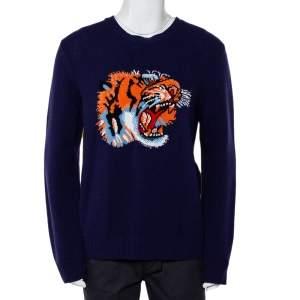 Gucci Navy Blue & Yellow Tiger Loved Intarsia Knit Crewneck Sweater XXL