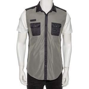 Gucci Tricolor Cotton & Mesh Collar Zip Detail Skinny Fit Short Sleeve Shirt Medium (Eu 40)