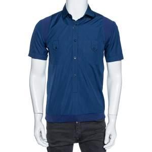Gucci Blue Cotton & Ribbed Knit Trim Short Sleeve Shirt M