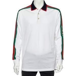 تي شيرت غوتشي بولو قطن أبيض تفاصيل أكمام طويلة مخطط ويب بيكيه بالشعار مقاس كبير جدًا جدًا - إكس إكس لارج