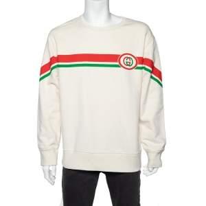 Gucci Ivory Interlocking G Print Cotton Crew Neck Sweatshirt L