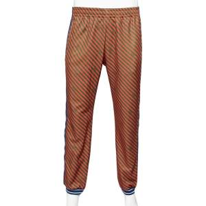 Gucci Red & Green Diagonal Striped Technical Jersey Jogging Pants L
