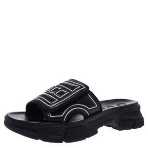 Gucci Black Leather Logo Slide Sandals Size 41