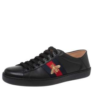 Gucci Black Leather Embroidered Bee Ace Low Top Sneakers Size 41