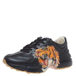 Gucci Black Leather Tiger Rhyton Low Top Sneakers Size 41.5