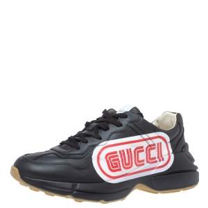 Gucci Black Leather Rhyton Logo Low Top Sneakers Size 43.5