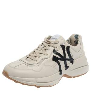 Gucci Mystic White Leather NY Yankees Rhyton Low Top Sneakers Size 41