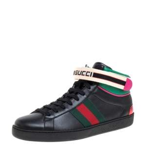 Gucci Black Leather Stripe Ace High Top Sneakers Size 41.5