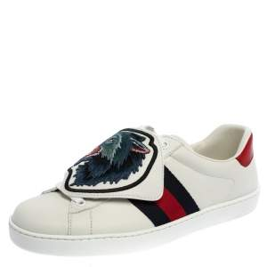 Gucci White Leather Ace Web Low Top Sneakers with Removable Patch Size 40