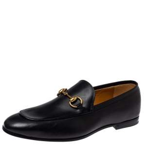 Gucci Black Leather Horsebit Loafers Size 40.5