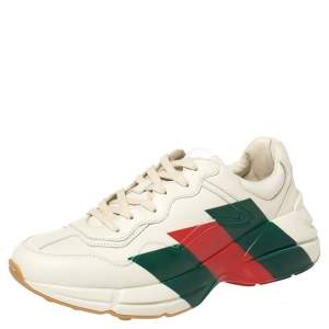 Gucci Cream Leather Web Rhyton Low Top Sneakers Size 43