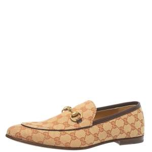 Gucci Beige/Brown GG Canvas Jordan Loafers Size 43.5