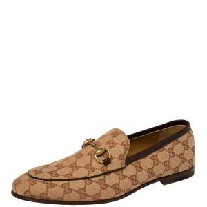 Gucci Beige GG Canvas Jordaan Loafers Size 42.5