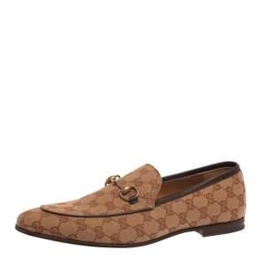 Gucci Beige GG Canvas Jordaan Horsebit Loafers Size 45