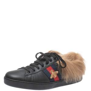 Gucci Black Leather and Fur Ace Embroidered Bee Low Top Sneaker Size 44