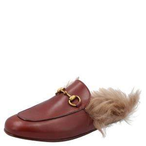 Gucci Red Leather Princetown Fur-Lined Mules Size EU 40.5