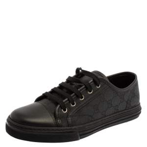 Gucci Grey/Black GG Canvas And Leather Low Top Lace Up Sneakers Size 39.5
