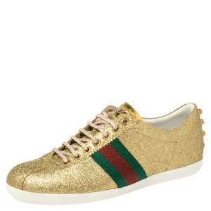 Gucci Gold Glitter Leather Bambi Sneaker Size 40