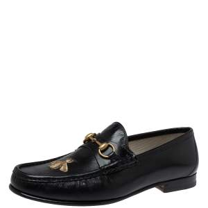 Gucci Black Leather Bee Embroidered Horsebit Slip On Loafers Size 43.5