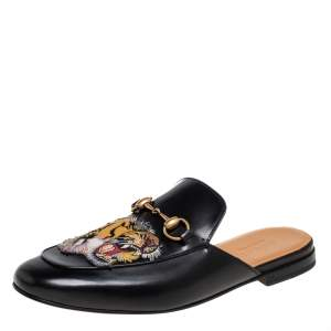 Gucci Black Tiger Embroidered Leather Horsebit Princetown Mules Size 42