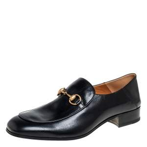 Gucci Black Leather Slip On Horsebit Loafers Size 44.5
