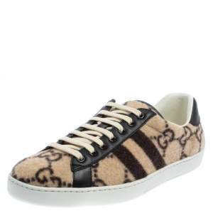 Gucci Beige GG Wool And Leather Ace Low Top Sneakers Size 41.5