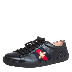 Gucci Black Leather Ace Sneakers Size 44.5