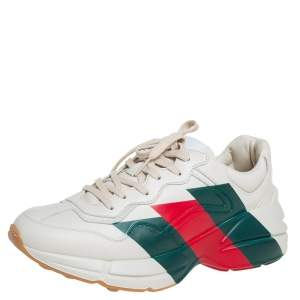 Gucci Off White Leather Rhyton Chunky Low Top Sneakers Size 40