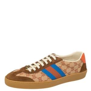 Gucci Beige/Brown GG Canvas And Leather JBG Web Lace Up Sneakers Size 45