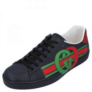 Gucci Black/Multicolor Ace Sneakers Size UK 10