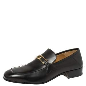 Gucci Black Leather Interlocking GG Loafers Size 43