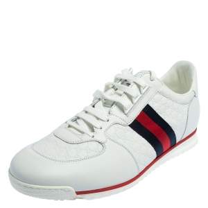Gucci White Micro Guccissima Leather Web Low Top Sneakers Size 45