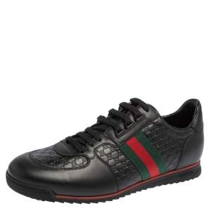 Gucci Black Guccissima Leather Web Detail Lace Up Sneakers Size 45