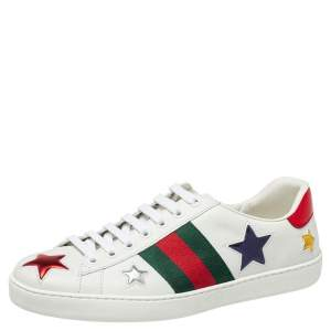 Gucci White Leather And Canvas Star Ace Sneakers Size 40