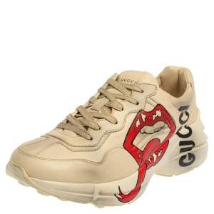 Gucci Ivory Leather Rhyton Mouth Print Low Top Sneakers Size 40
