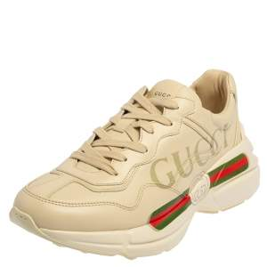 Gucci Ivory Leather Rhyton Vintage Logo Low Top Sneakers Size 40