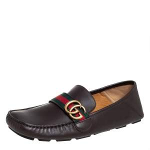 Gucci Brown Leather GG Web Loafers Size 42