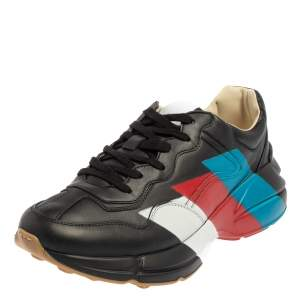 Gucci Black Leather Rhyton Web Print Sneakers Size 41.5