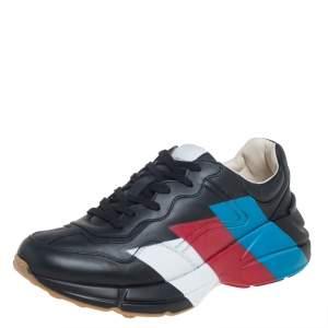 حذاء رياضي غوتشي ريتون مطبوع ويب جلد أسود مقاس 42