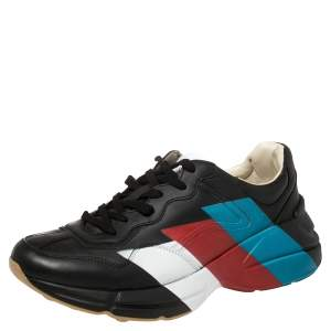 Gucci Black Leather Rhyton Web Print Sneakers Size 42