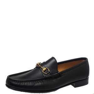 Gucci Black Leather Jordaan Loafers Size 46.5