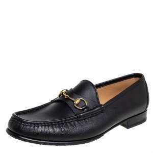Gucci Black Leather Horsebit Slip On Loafers Size 46.5