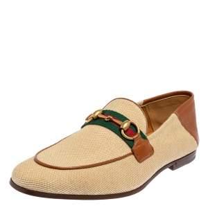حذاء لوفرز غوتشي ويب جلد وكانفاس بني/ بيج مقاس 40.5