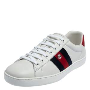 Gucci White Leather Ace Web Low Top Removable Patch Sneakers Size 39
