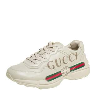Gucci Beige Leather Rhyton Gucci Logo Low Top Sneakers Size 41
