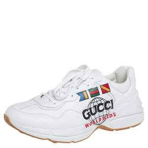 Gucci White Leather Rhyton Worldwide Print Low Top Sneakers Size 44.5