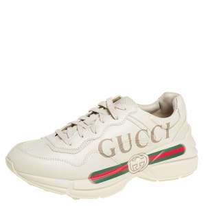 Gucci Cream Leather Rhyton Gucci Logo Low Top Sneakers Size 41