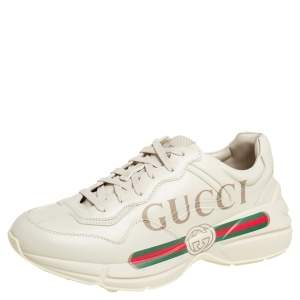 Gucci Cream Leather Rhyton Gucci Logo Low Top Sneakers Size 42