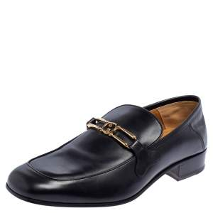 Gucci Black Leather GG Loafers Size 43.5