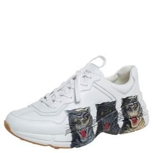 حذاء رياضي غوتشي جلد أبيض ريتون طباعة تايغر بعنق منخفض مقاس 43